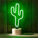 Gingersnap Large Neon Cactus Table Lamp - Cork Base