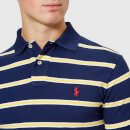 Polo Ralph Lauren Men's Stripe Short Sleeve Polo Shirt - Newport Navy/Artic Yellow