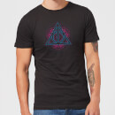 Harry Potter Neon Deathly Hallows Men's T-Shirt - Black