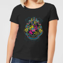 Harry Potter Neon Hogwarts Crest Women's T-Shirt - Black
