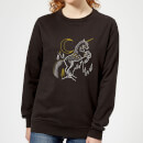 Harry Potter Unicorn Line Art Women's Sweatshirt - Black