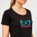 Emporio Armani EA7 Women's Train Logo Series Shiny Print T-Shirt - Black