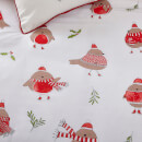 Catherine Lansfield Robins Duvet Set - Red