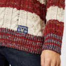 068c0b9f5 Superdry Women s Americana Cable Knit Jumper - Navy Burnt Red Ecru ...