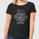 Avengers Distressed Metal Icon Women's T-Shirt - Black