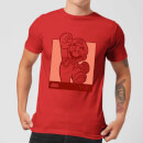 Nintendo Super Mario Mario Kanji Line Art Men's T-Shirt - Red