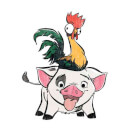 Disney Moana Hei Hei and Pua Men's T-Shirt - White