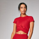 Power Short Sleeve Crop Top - Crimson - S