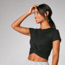 Power Kurzarm Crop Top - Schwarz - XS