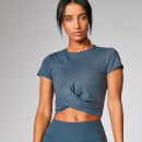 Power Short Sleeve Crop Top - Dark Indigo - XS