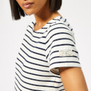 Joules Women's Riviera Regular Short Sleeve Dress - Cream Navy Stripe