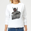 Star Wars Boba Fett Skeleton Women's Sweatshirt - White