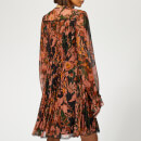 Coach 1941 Women's Forest Floral Print Pleated Dress - Green/Peach