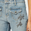 Coach 1941 Women's Embellished Denim Pants - Blue