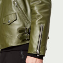 Avant L'Oeil Men's Byrant Classic Leather Biker Jacket - Green