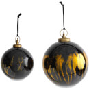 Nkuku Danoa Giant Round Christmas Bauble - Aged Amber and Black - Small