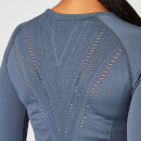 Shape Seamless Long-Sleeve Top – Dunkles Indigo Blau - XS