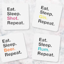 Eat Sleep Rum Repeat Coasters (Pack of 4)