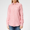 Polo Ralph Lauren Women's Stripe Linen Shirt - Red/White