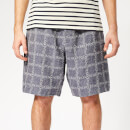 JW Anderson Men's Logo Grid Linen Shorts - Navy