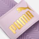 Puma Women's Popcat Slide Sandals ElderberryPuma Team Gold