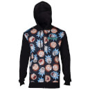 Rick and Morty Men's Pattern Printed Zip Through Hoody - Black