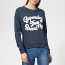 Superdry Women's Piper Broderie Crew Neck Sweatshirt - Indigo Navy Marl