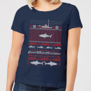 Jaws Great White Christmas Women's T-Shirt - Navy