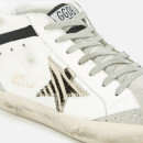 Golden Goose Deluxe Brand Women's Mid Star Leather Trainers - White/Zebra Star