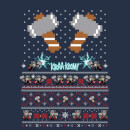 Marvel Avengers Thor Pixel Art Women's Christmas Sweatshirt - Navy
