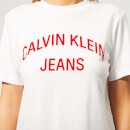 Calvin Klein Jeans Women's Institutional Curved Logo Straight T-Shirt - Bright White