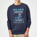 Rick and Morty Mr Meeseeks Pain Christmas Sweatshirt - Navy