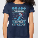 Rick and Morty Christmas Mr Meeseeks Pain Damen T-Shirt - Navy Blau
