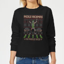 Rick and Morty Pickle Rick Women's Christmas Sweatshirt - Black