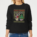 Cow and Chicken Cow And Chicken Pattern Women's Christmas Sweatshirt - Black