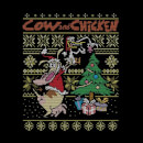Cow and Chicken Cow And Chicken Pattern Women's Christmas T-Shirt - Black