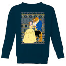 Disney Classic Beauty and The Beast Pattern Kids Christmas Sweatshirt - Navy