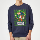 Nintendo Super Mario Happy Holidays Luigi Christmas Sweatshirt - Navy