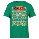 Nintendo Legend Of Zelda Pattern Men's Christmas T-Shirt - Kelly Green