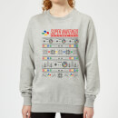 Nintendo SNES Pattern Women's Christmas Sweatshirt - Grey