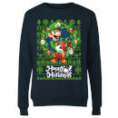 Nintendo Super Mario Happy Holidays Luigi Women's Christmas Sweatshirt - Navy