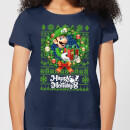 Nintendo Christmas Happy Holidays Luigi Damen T-Shirt - Navy Blau