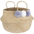 Sass & Belle Seagrass Grey Pom Pom Storage Basket
