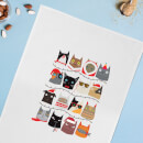 Cat Christmas Cotton Tea Towel
