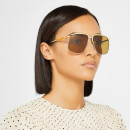 Gucci Women's Aviator Metal Frame Sunglasses - Gold