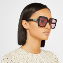 Gucci Women's Square Frame Acetate Sunglasses - Black/Pink