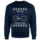 Ride Now, Turkey Later Christmas Sweatshirt - Navy