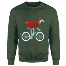 Biking Reindeer Christmas Sweatshirt - Forest Green