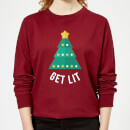 Get Lit Women's Christmas Sweatshirt - Burgundy