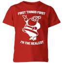 First Things First I'm The Realest Kids' Christmas T-Shirt - Red